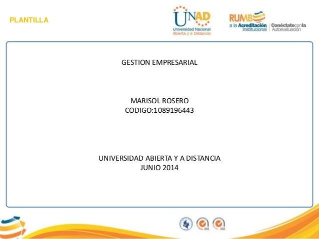 PLANTILLA GESTION EMPRESARIAL MARISOL ROSERO CODIGO:1089196443 UNIVERSIDAD ABIERTA Y A DISTANCIA JUNIO 2014