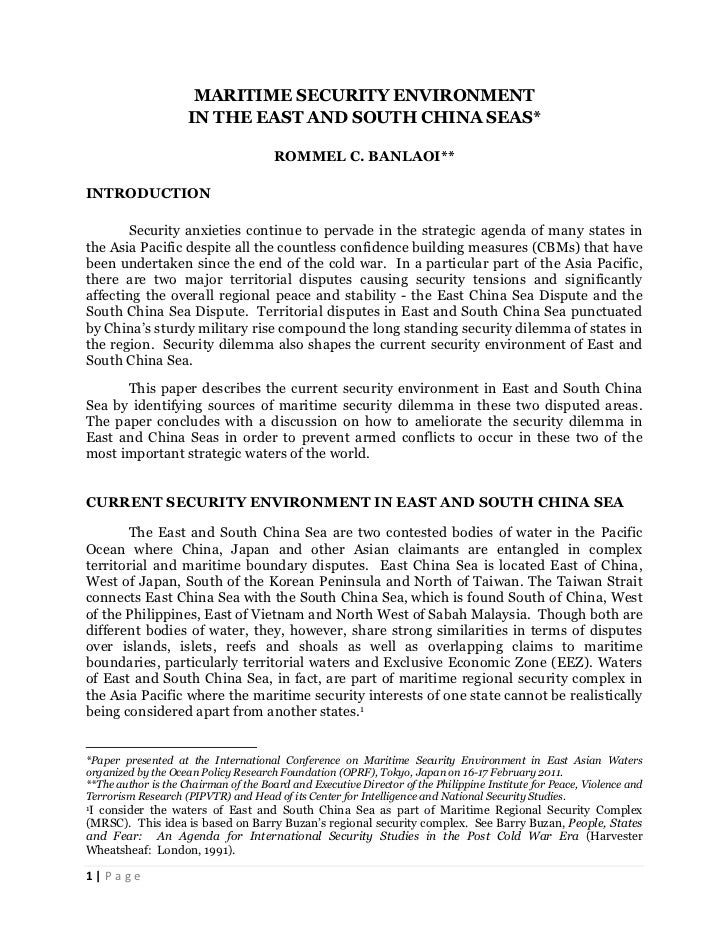 Maritime Security Environment in East and South China Seas by Rommel Banlaoi