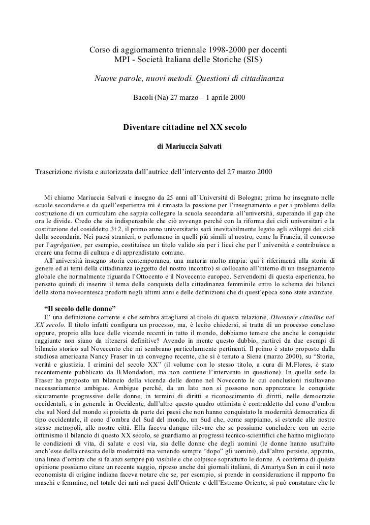 Corso di aggiornamento triennale 1998-2000 per docenti                          MPI - Società Italiana delle Storiche (SIS...