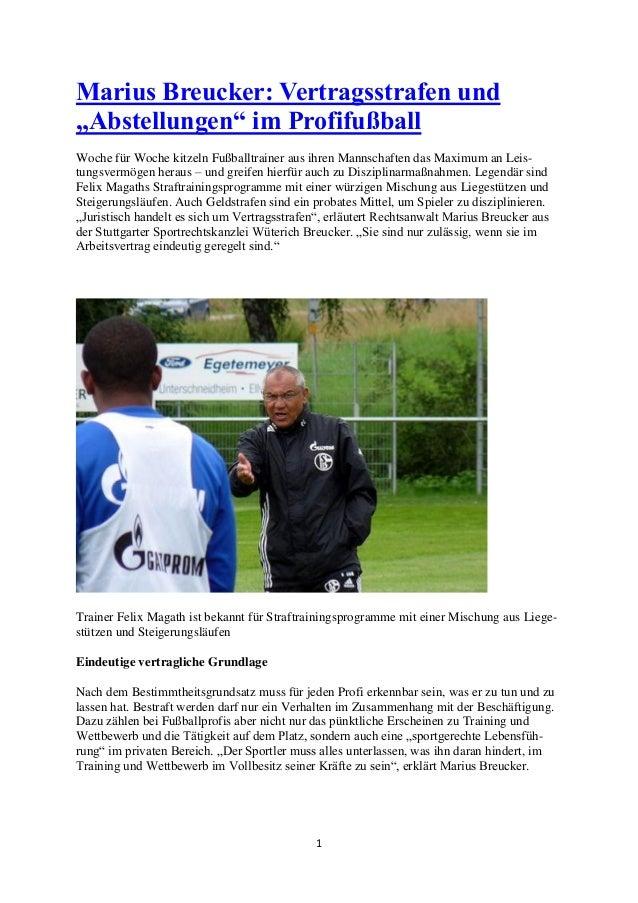 """1  Marius Breucker: Vertragsstrafen und """"Abstellungen"""" im Profifußball  Woche für Woche kitzeln Fußballtrainer aus ihren M..."""