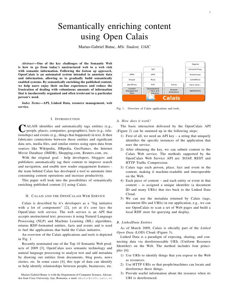 1                                    Semantically enriching content                                     using Open Calais ...