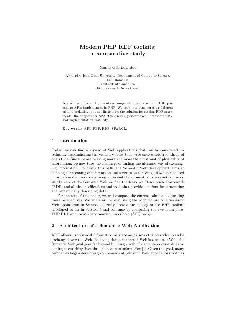 Modern PHP RDF toolkits:                    a comparative study                                 Marius-Gabriel Butuc      ...