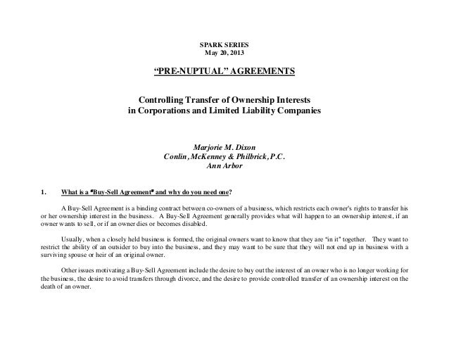 "SPARK SERIESMay 20, 2013""PRE-NUPTUAL"" AGREEMENTSControlling Transfer of Ownership Interestsin Corporations and Limited Lia..."