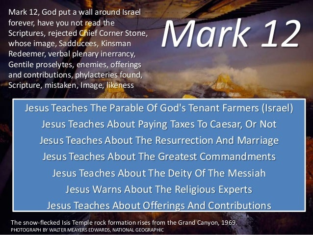 Mark 12 Jesus Teaches The Parable Of God's Tenant Farmers (Israel) Jesus Teaches About Paying Taxes To Caesar, Or Not Jesu...