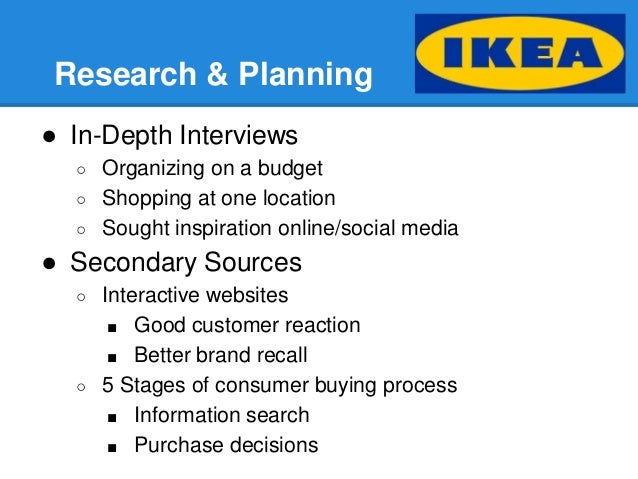 ikea marketing process Marketing strategy in distribution and logistics–ikea  the design of the ikea marketing channel system is  the whole process must be completed.