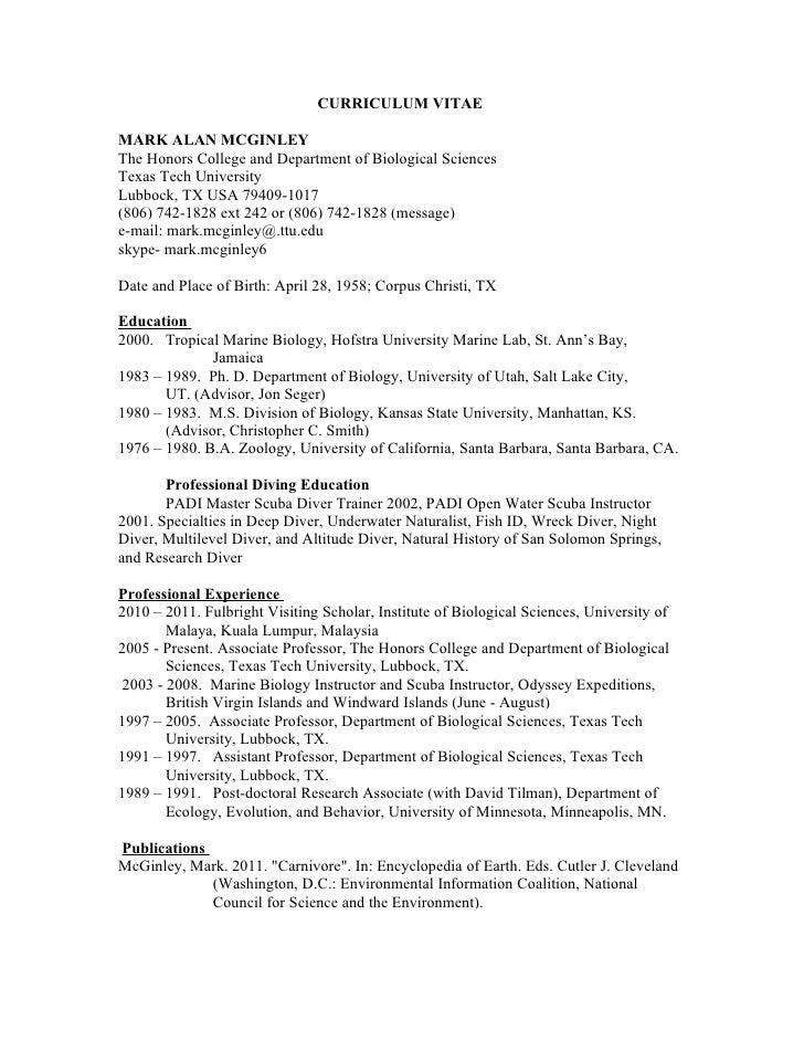 Mark A. McGinley  curriculum vitae