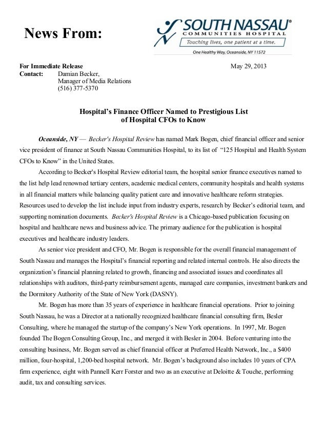 For Immediate Release May 29, 2013 Contact: Damian Becker, Manager of Media Relations (516) 377-5370 Hospital's Finance Of...