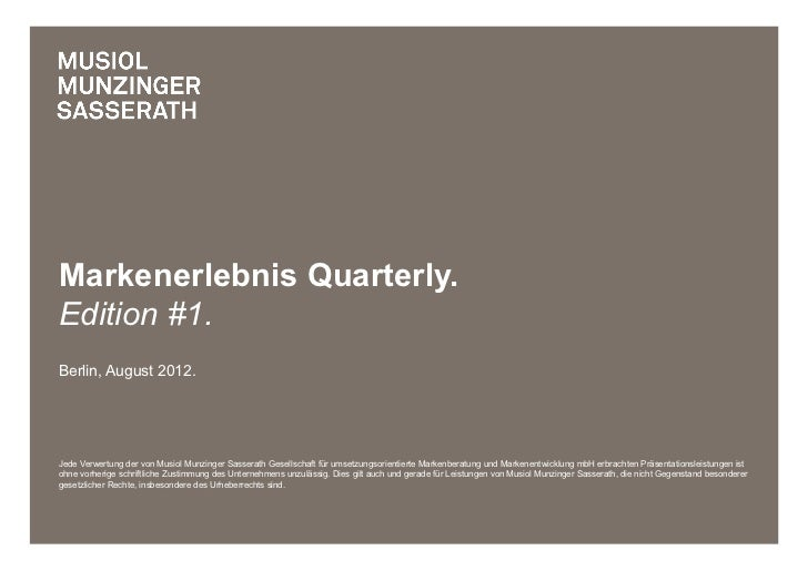 Markenerlebnis Quarterly Edition #1