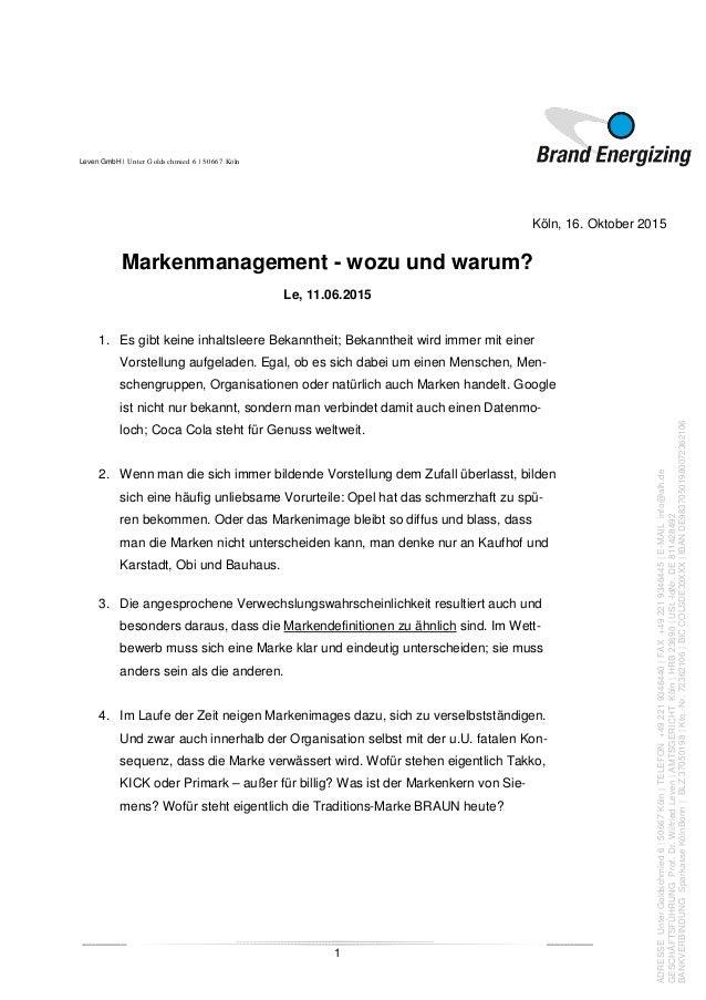 Leven GmbH   Unter Goldschmied 6   50667 Köln 1 Köln, 16. Oktober 2015 ADRESSEUnterGoldschmied6 50667Köln TELEFON+49221934...
