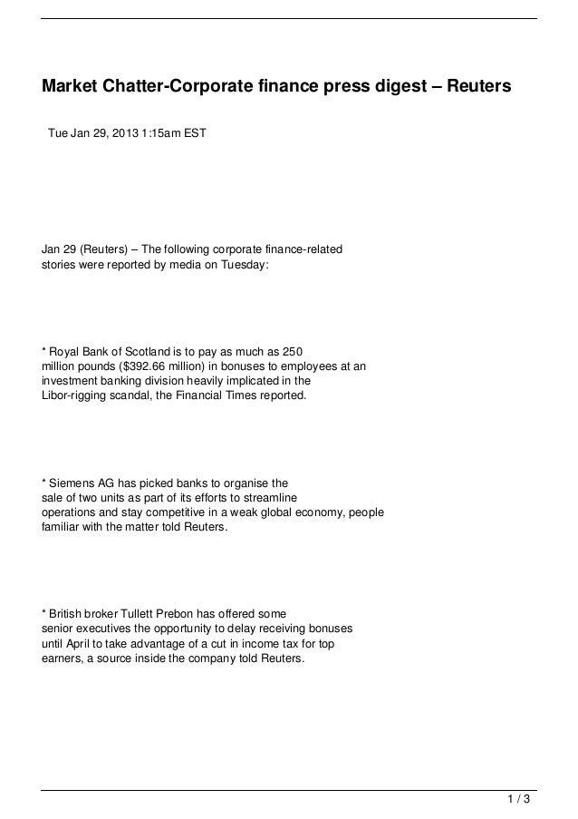 Market Chatter-Corporate finance press digest – Reuters Tue Jan 29, 2013 1:15am ESTJan 29 (Reuters) – The following corpor...