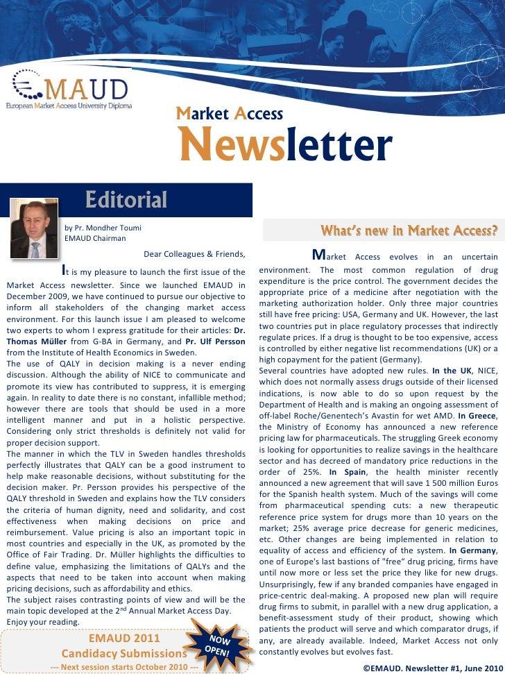 Market Access Newsletter EMAUD June 2010