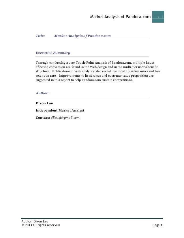 Market Analysis of Pandora.com                1         Title:       Market Analysis of Pandora.com         Executive Summ...
