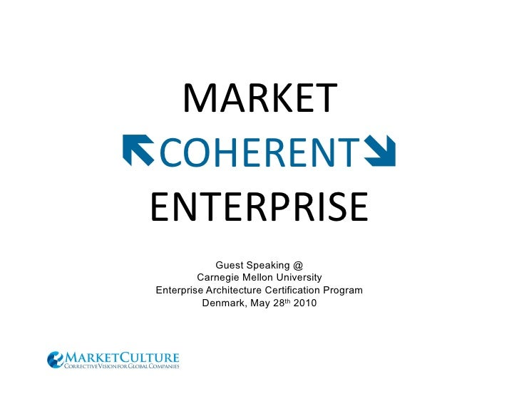MARKET	    COHERENT	   	     ENTERPRISE	                   Guest Speaking @            Carnegie Mellon University   Ente...