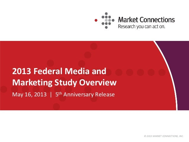 © 2013 MARKET CONNECTIONS, INC. 2013 Federal Media and Marketing Study Overview May 16, 2013 | 5th Anniversary Release