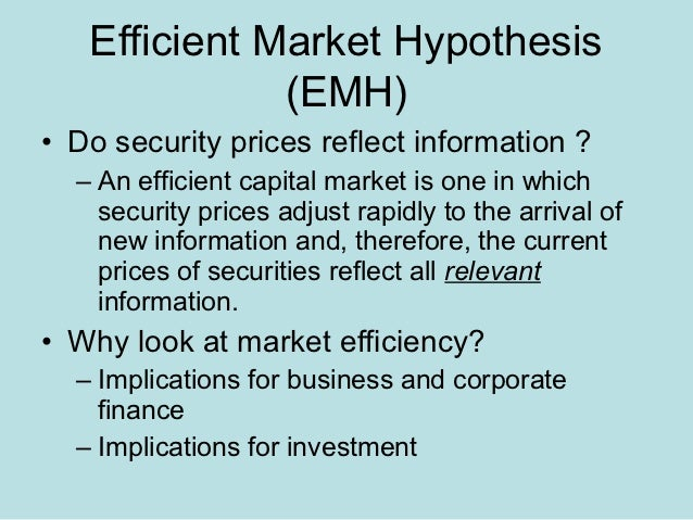 implications of behavioural finance for the efficient market hypothesis Alternative efficient market hypotheses tests and results of the hypotheses behavioural finance implications of efficient capital markets efficient market hypothesis (emh) documents similar to 0176500693_305107 skip carousel.