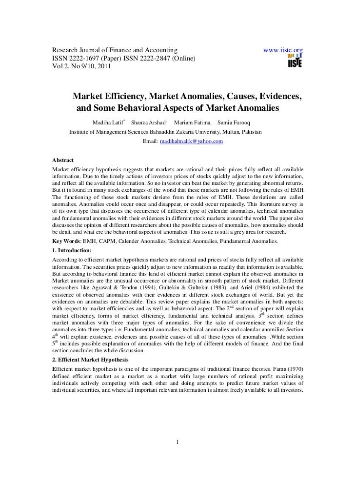 What are some good research paper topics about the efficient markets theory?