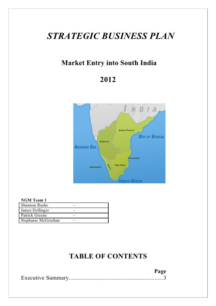 STRATEGIC BUSINESS PLAN                      Market Entry into South India                                            2012...
