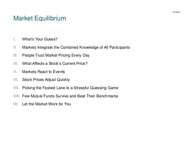 DV1000.2  Market Equilibrium  I.  What's Your Guess?  II.  Markets Integrate the Combined Knowledge of All Participants  I...