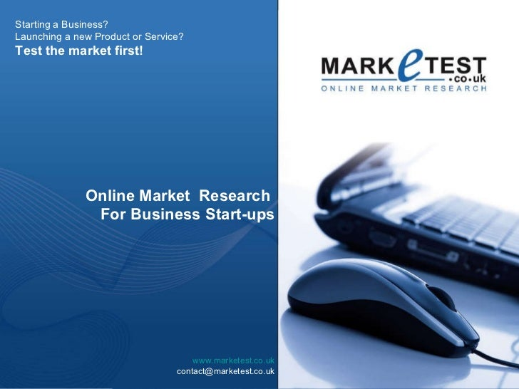 Market Research - Start Up Research - Quantitative Research Surveys