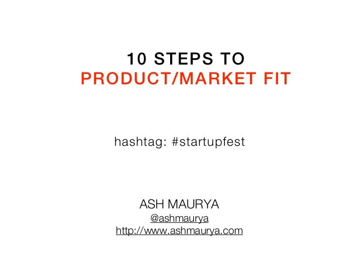 10 Steps to Product/Market Fit