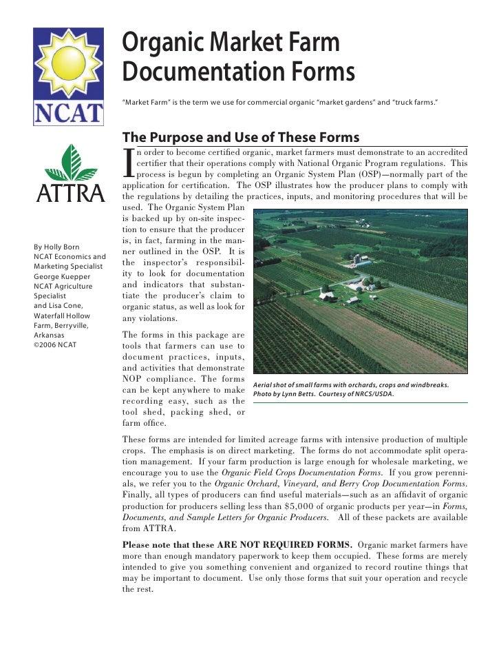 Organic Market Farm Documentation Forms