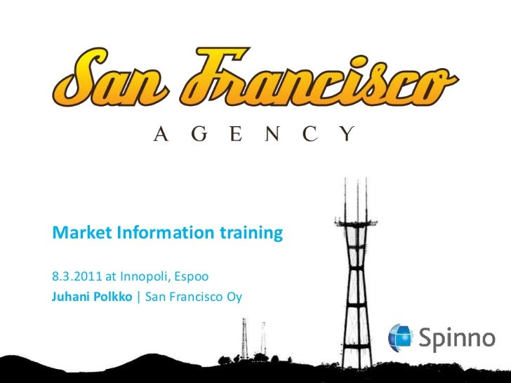Market information training for spinno 2011 03