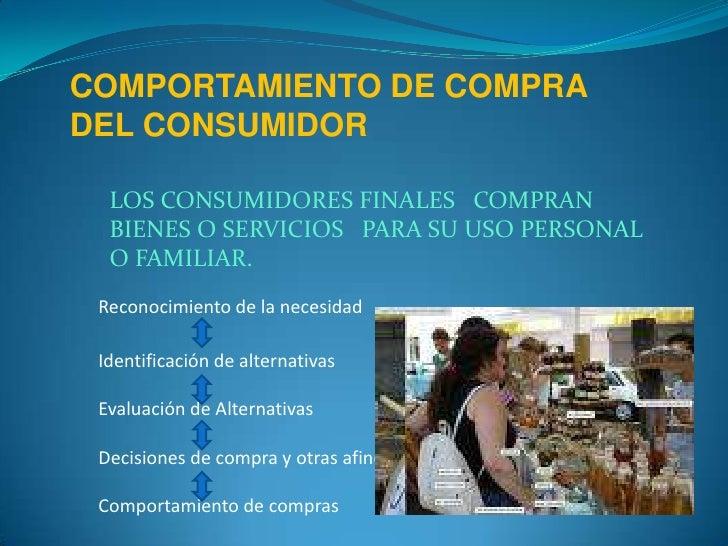 COMPORTAMIENTO DE COMPRA DEL CONSUMIDOR<br />LOS CONSUMIDORES FINALESCOMPRAN  BIENES O SERVICIOSPARA SU USO PERSONAL O FAM...