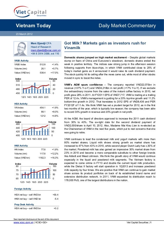 Vietnam Today  Daily Market Commentary  23 March 2012  Marc Djandji CFA Head of Research marc.djandji@vcsc.com.vn +84 8 39...