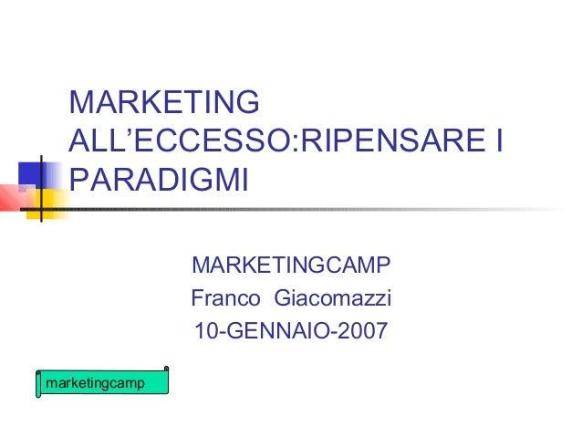 marketingcamp MARKETING ALL'ECCESSO:RIPENSARE I PARADIGMI MARKETINGCAMP Franco Giacomazzi 10-GENNAIO-2007