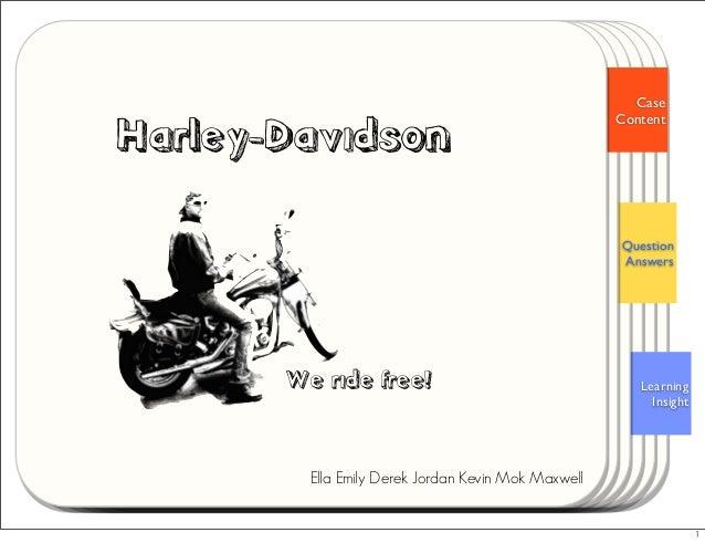 Learning Insight Question Answers Case Content Harley-Davidson Ella Emily Derek Jordan Kevin Mok Maxwell We ride free! 1