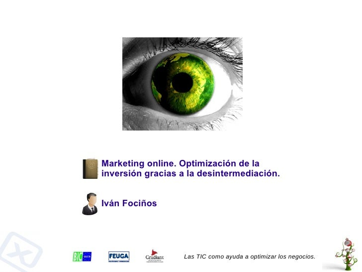 Marketing online. Optimización de la inversión gracias a la desintermediación. Las TIC como ayuda a optimizar los negocios...