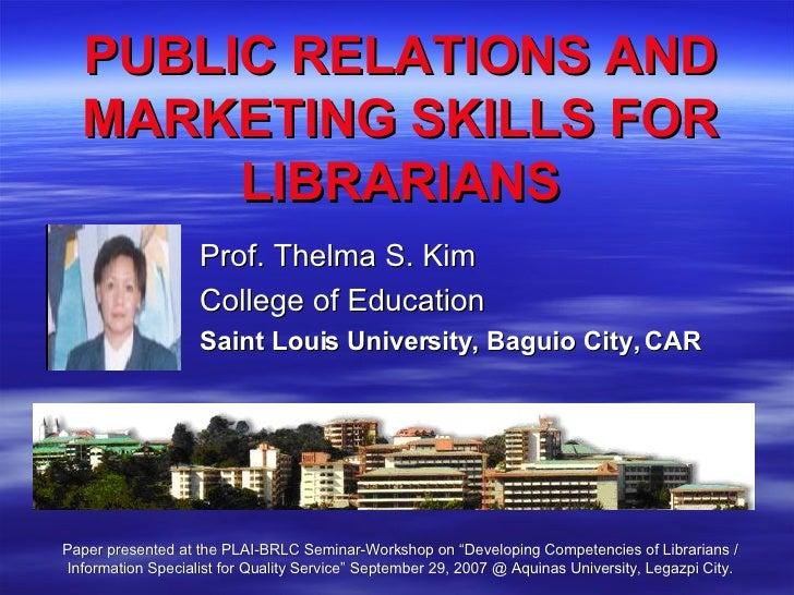 Marketing Skills of Librarians