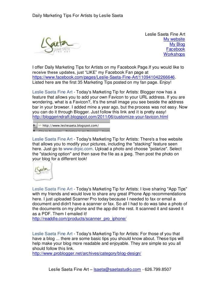 Leslie Saeta  CONTACT _Con-38D5EC5190F Fine Art My websiteMy BlogFacebookWorkshops<br />I offer Daily Marketing Tips for A...