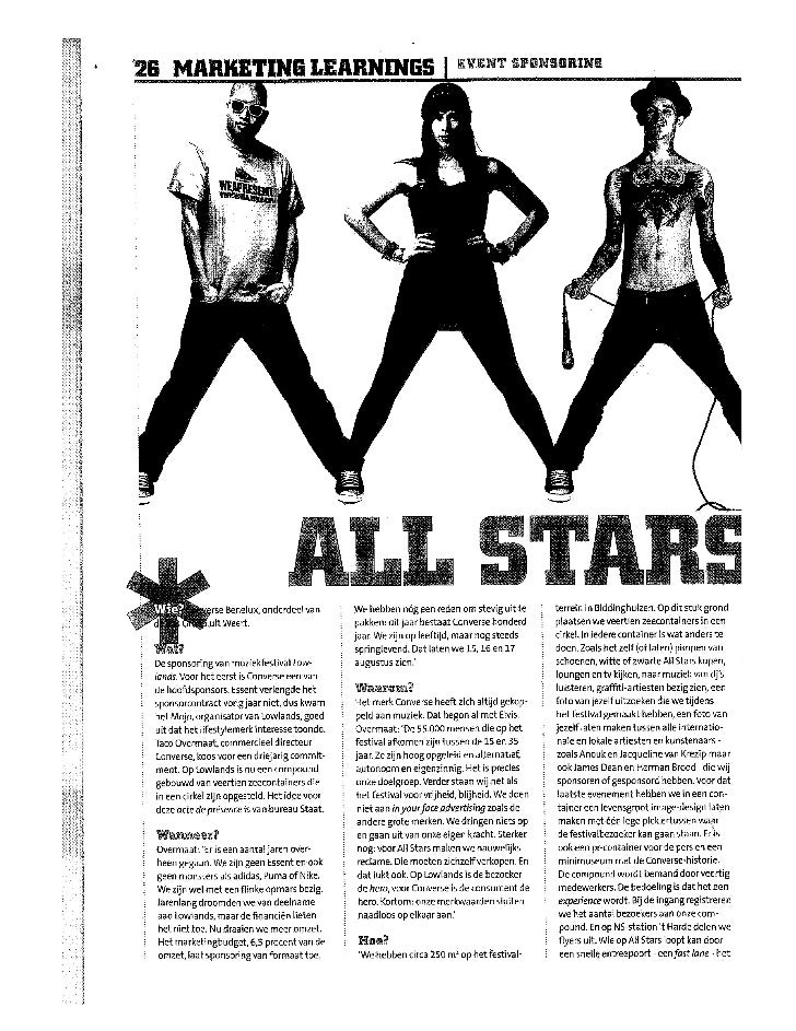Marketing 1 les 2 Artikel all stars op lowlands