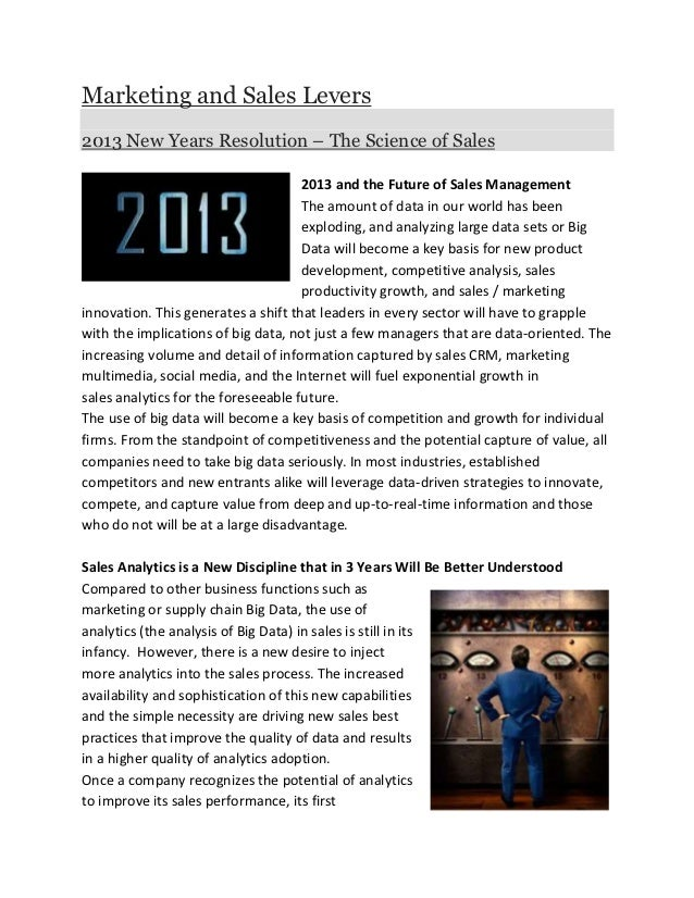 Marketing and Sales Levers2013 New Years Resolution – The Science of Sales                                     2013 and th...