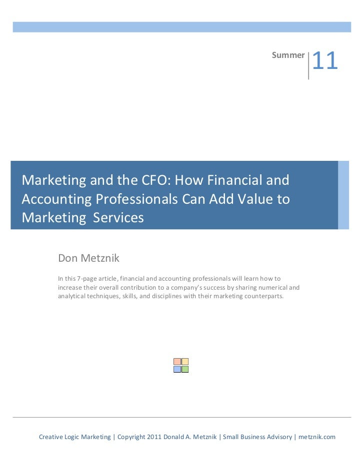 Marketing and the CFO