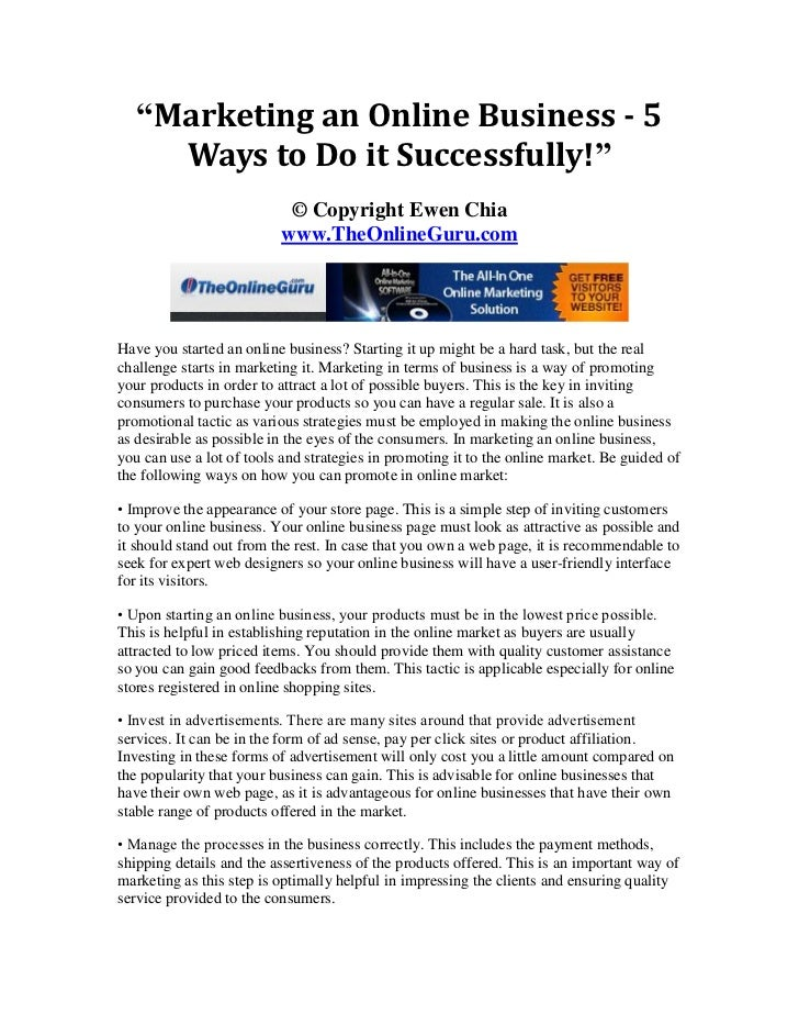 """""""Marketing an Online Business - 5     Ways to Do it Successfully!""""                           © Copyright Ewen Chia        ..."""