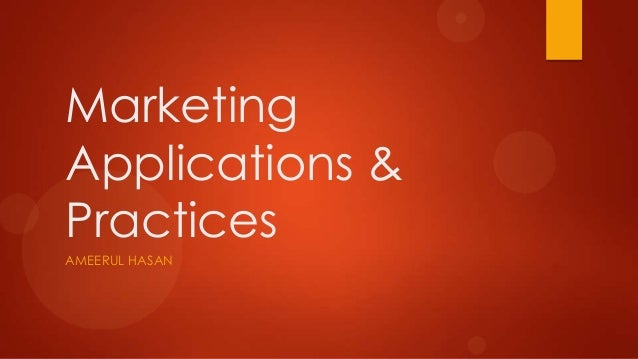 Marketing Applications & Practices Course Details