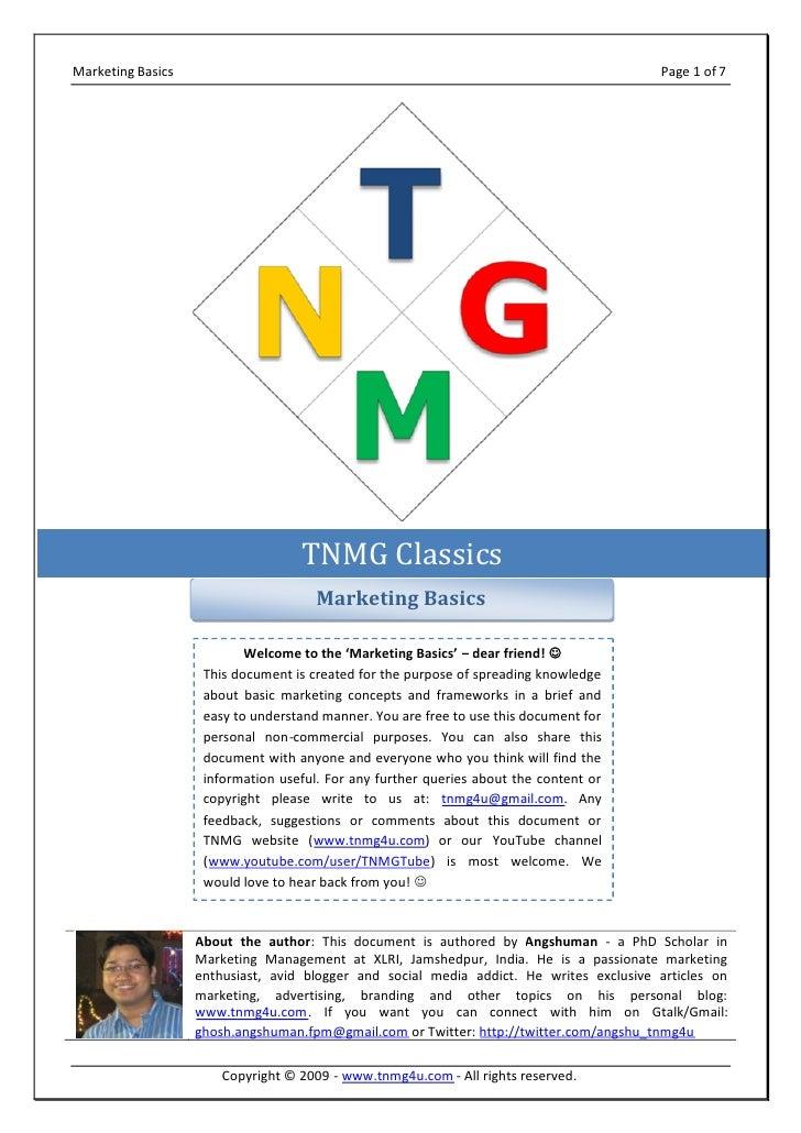 Marketing Basics @ tnmg4u.com