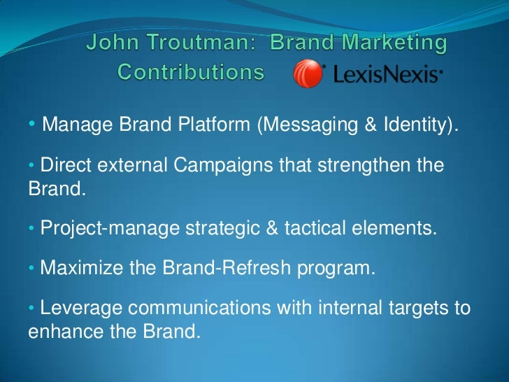 • Manage Brand Platform (Messaging & Identity).• Direct external Campaigns that strengthen theBrand.• Project-manage strat...