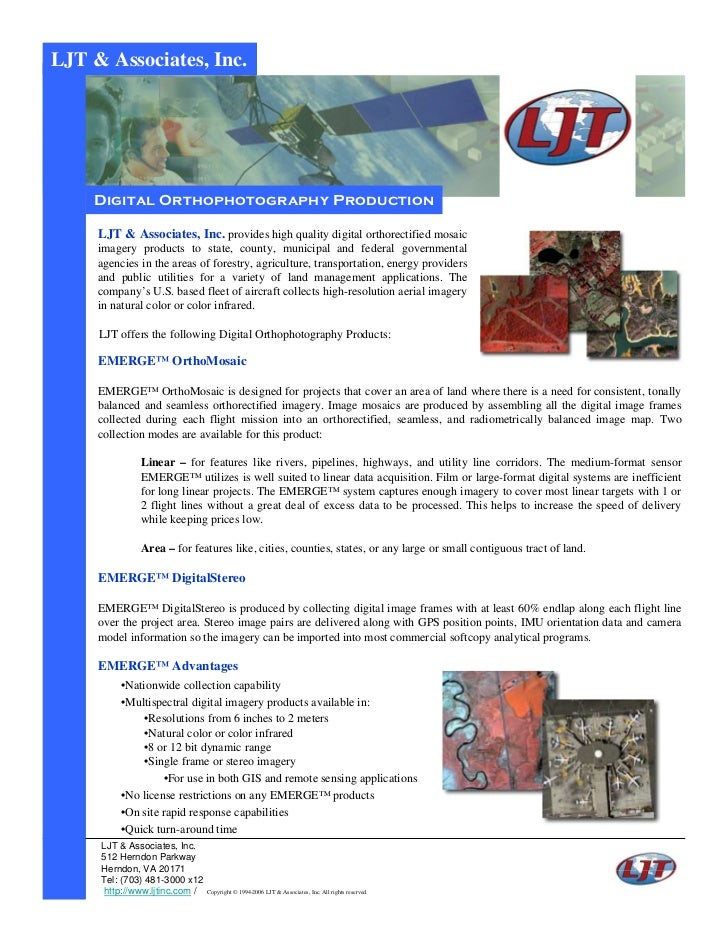 LJT & Associates, Inc.    Digital Orthophotography Production     LJT & Associates, Inc. provides high quality digital ort...