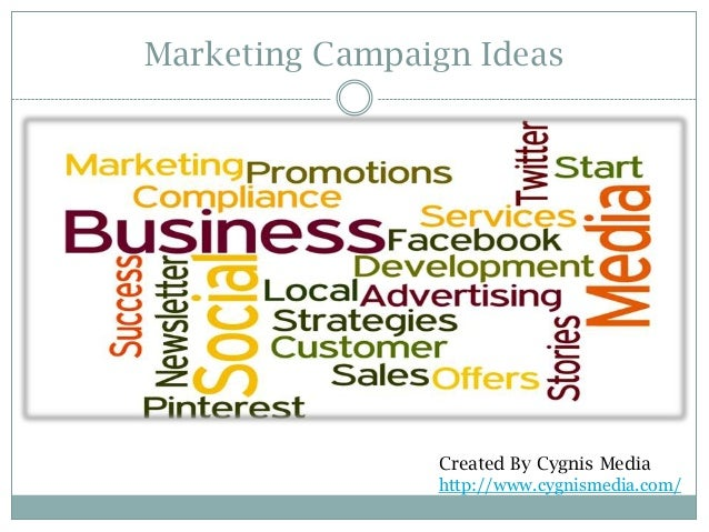 Marketing Campaign Ideas  Created By Cygnis Media http://www.cygnismedia.com/