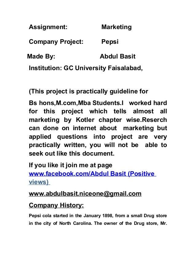 Marketing chapter wise pepsi  project marketig applied qns 1 practise