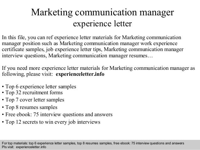 Marketing communication manager experience letter