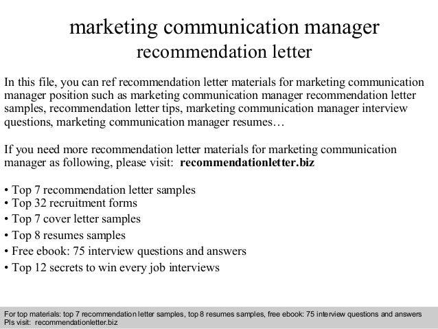 Marketing Communication Manager Recommendation Letter