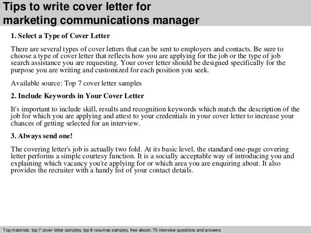 Marketing communications specialist cover letter - SlideShare