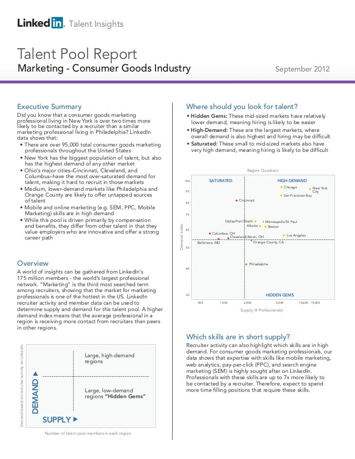 2012 US Consumer Goods Marketing | Talent Pool Report