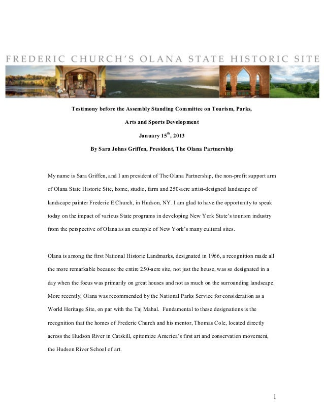 Testimony before the Assembly Standing Committee on Tourism, Parks,                                  Arts and Sports Devel...