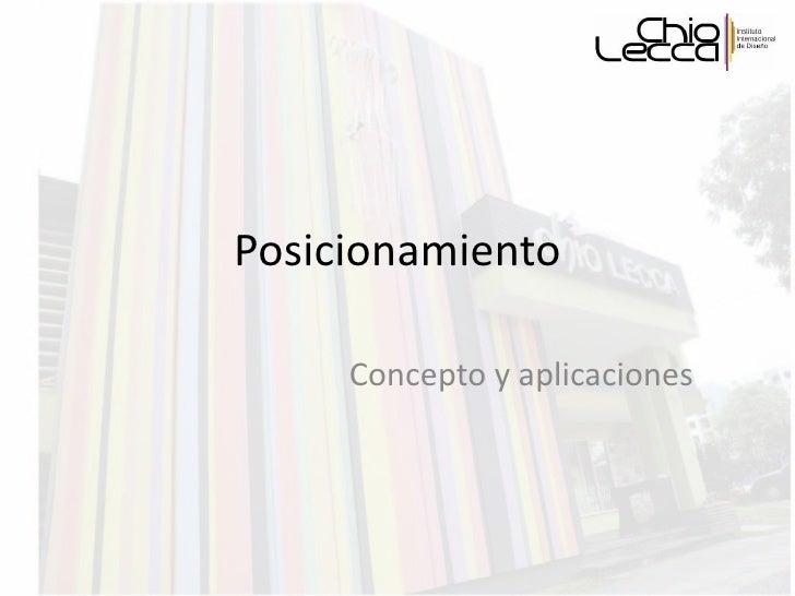 Posicionamiento Concepto y aplicaciones