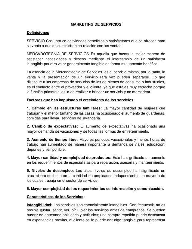 MARKETING DE SERVICIOS Definiciones SERVICIO Conjunto de actividades beneficios o satisfactores que se ofrecen para su ven...